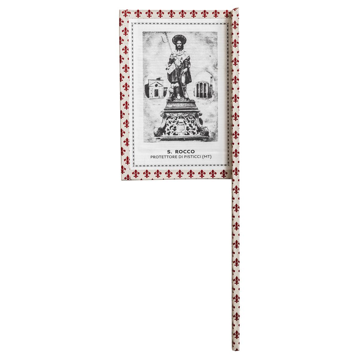 Ventaglio devozionale beige/rosso San Rocco
