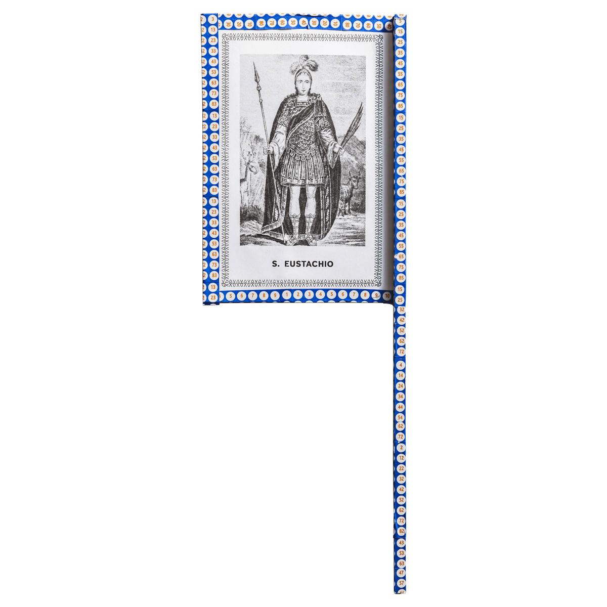 Ventaglio devozionale blu/bianco Sant'Eustachio