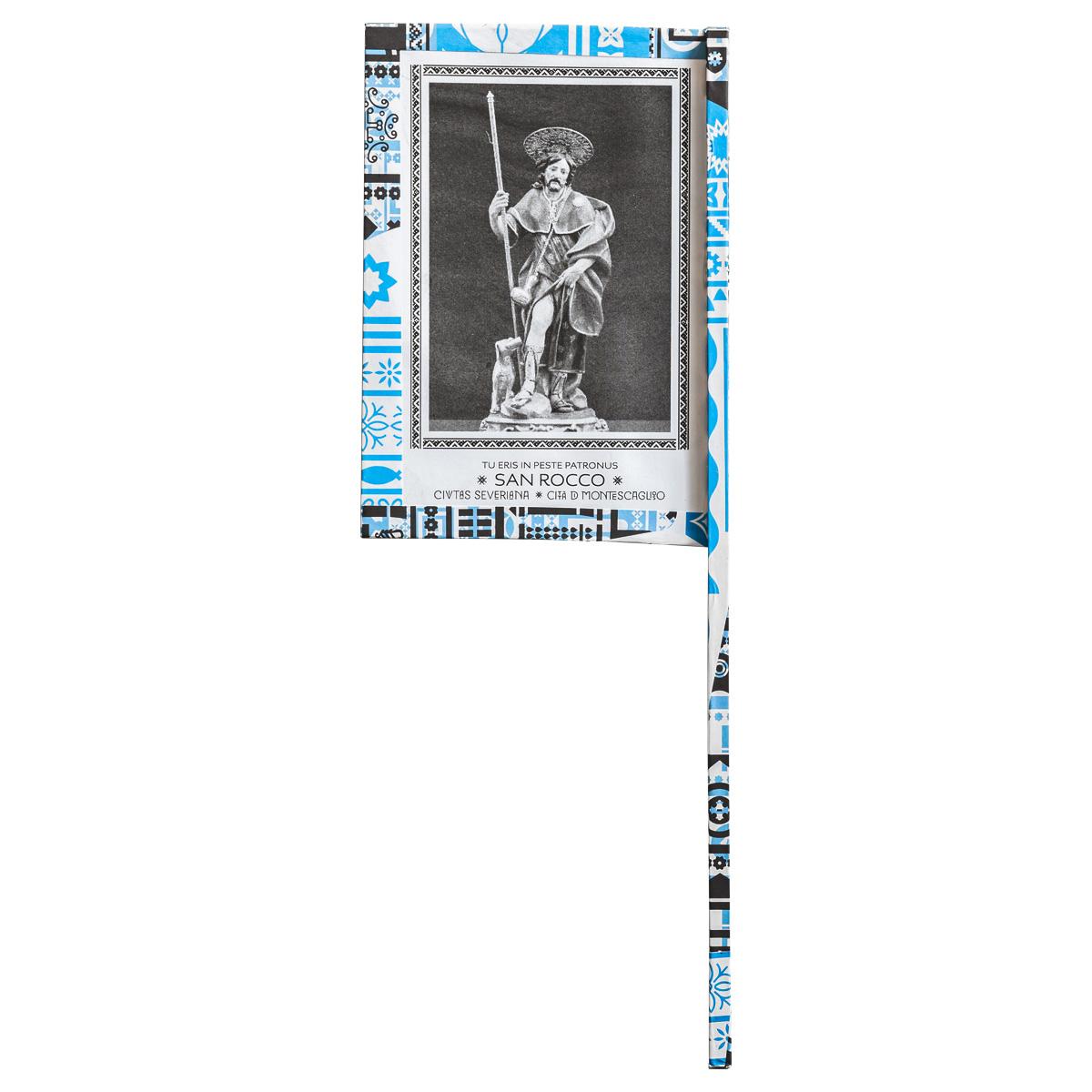 Ventaglio devozionale bianco/azzurro San Rocco