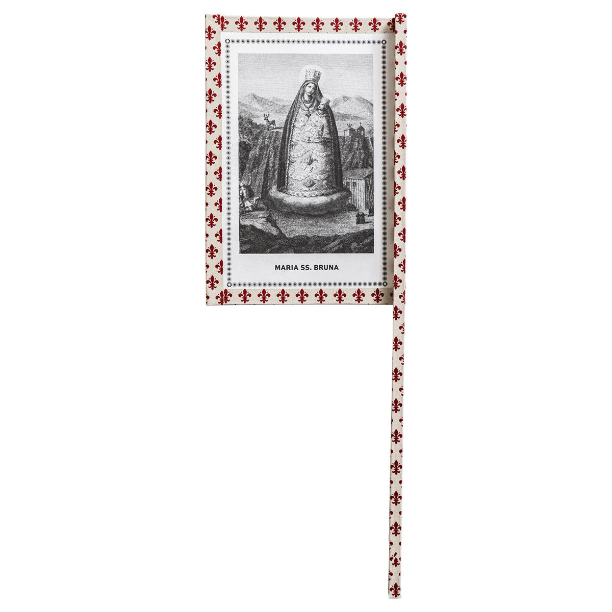 Ventaglio devozionale beige/rosso Maria SS. Bruna