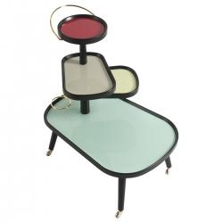 Carrello portavivande Sushi Kart, struttura nera e vetro 4 colori by Colé