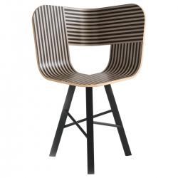 Sedia a 3 gambe Tria Wood 3, strisce avorio e nero |  nero poro aperto by Colé