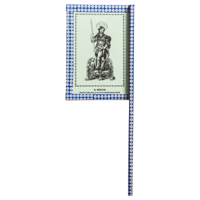 Ventaglio devozionale blu/bianco San Rocco by Mauro Bubbico