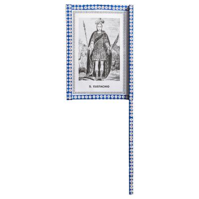 Ventaglio devozionale blu/bianco Sant'Eustachio by Mauro Bubbico