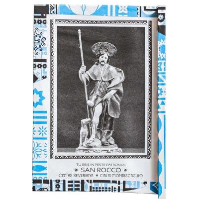 Ventaglio devozionale bianco/azzurro San Rocco by Mauro Bubbico