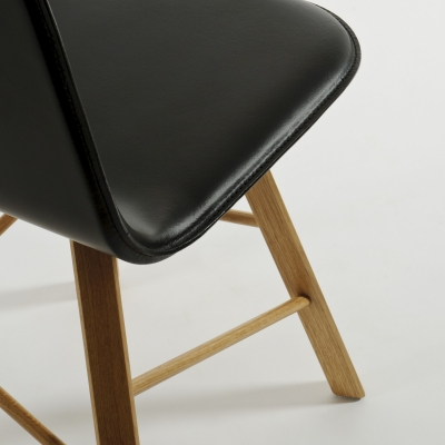 Sedia in cuoio Tria Simple Leather, cuoio nero |  rovere naturale by Colé