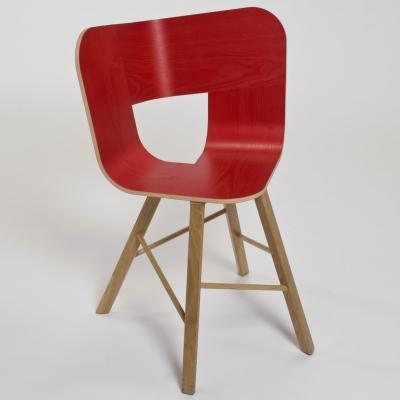 Sedia a 4 gambe Tria Wood 4, tricromia azzurri |  rovere naturale by Colé