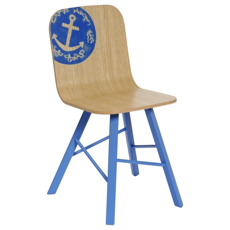 Sedia in legno Tria Simple Anchor, azzurro mare by Colé