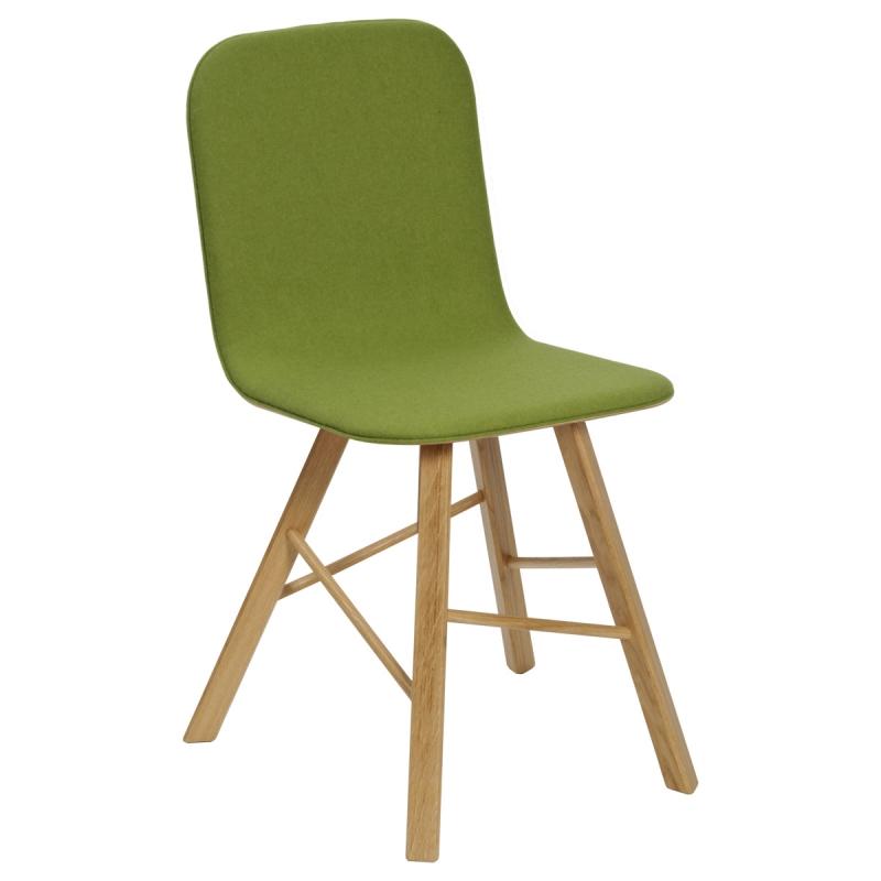 Sedia in tessuto Tria Simple Fabric, feltro verde acido |  rovere naturale by Colé